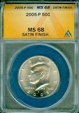 2005-P KENNEDY HALF DOLLAR ANACS MS68 SATIN FINISH BU COIN