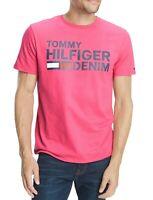 Tommy Hilfiger Mens T-Shirt Pink Medium M Flag Logo Crewneck Graphic Tee $39 210