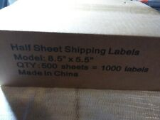 1000 Half Sheet Labels High Quality eBay PayPal & Amazon Shipping. 8.5 5.5 500
