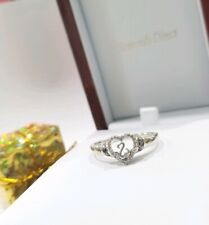 $179 Jane Seymour open hearts black and white diamond ring sterling silver