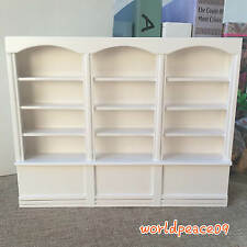 Dollhouse Miniature White Wooden Triptych Bookcase Cabinet 1:12 Scale Model