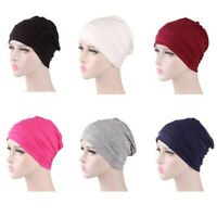 MEN WOMEN SOLID PLEATED COTTON BEANIE CAP HAIR LOSS SLEEPING CHEMO HAT FADDISH