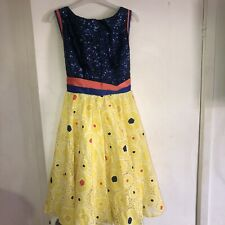 Girls Navy Yellow Party/ Prom Sequin Dress Age 6-7
