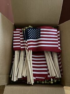 (50) American Flags On Stick-Small 4x6 Lots Of 50 VOTE US Flag July 4th Deco