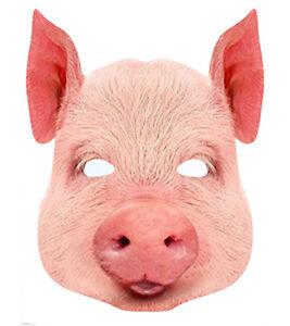 Pig Animal Single CARD 2D Party Face Mask cattle farm porky snout boar