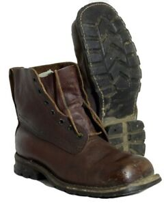 Vintage Swedish army surplus M59 brown leather heavy duty boots