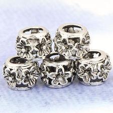 5pcs Fashion Tibetan Silver Flower Bead CZ Fit European Charm Bracelet New