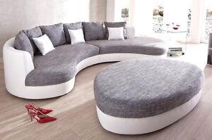 Sofa Couch Rundecke Ferro Kuschelecke Lounge Sofa mit & ohne Hocker wählbar *NEU