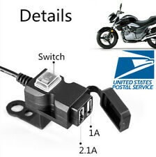 Double USB Port Phone Charger Motorcycle Handlebar& Mirror Rod Mount With Switch