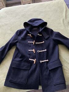 j crew mens duffle coat large navy wool