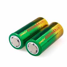 2 PCS 26650 Battery Flat Top Li-ion 3.7V Rechargeable Batteries