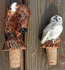 Unique,Bison & Owl Collectible Handmade Ceramic & Cork  Wine Bottle Toppers
