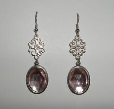 VICTORIAN STYLE FACETED BLACK ACRYLIC /& FILIGREE DARK SILVER PLATED EARRINGS SNV