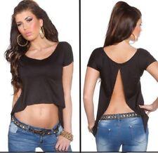 763cdf7dcb35 TOP CORTO NERO schiena scoperta maglietta loose crop donna spacco dietro