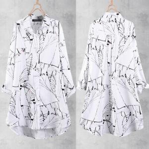 ZANZEA Women Plus Size Printed Top Shirt Tee Loose Baggy Club Party Tunic Blouse