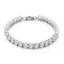 4ct. Round Cut Diamond Tennis Bracelet In 18k White Gold Toned 7""