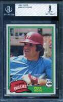 Pete Rose Card 1981 Topps #180 BGS 8