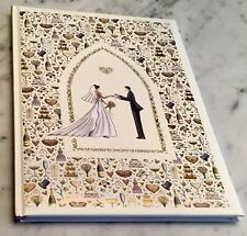 Bride And Groom Sweetheart Ivory And Gold Wedding Guest Book.