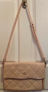 Kate Spade New York flap zipper crossbody bag Clutch Quilted Rose PREOWNED