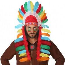 COIFFE à Plumes d'INDIEN Déguisement apache sioux chef guerrier NEUF pas cher