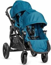 Baby Jogger City Select Twin Tandem Double Stroller Teal w/ Second Seat NEW