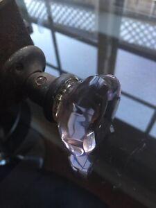 Antique Lake House  Amethyst Glass  Purple Door Knob Lock Set