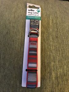 Dog Collar Medium 35.5-51cm Bn Grey And Red