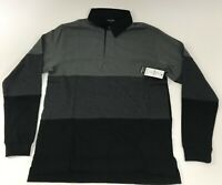 Mens Long Sleeve Stripe Rugby Polo Shirt Burnside CHOOSE A SIZE Black Grey