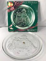 Vintage Arcoroc Winter Wonderland Christmas Glass Platter Round Made in France