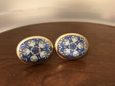 Marco Polo Collection Cufflinks Blue and White Porcelain Vintage