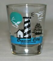 Vintage Shot Glass - Crescent City California Lighthouse & Ship Shot Glass