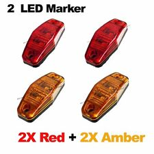 "4X Red Amber 12V 2 LED Side Marker Light 2.5"" Clearance Truck Trailer Turn Light"