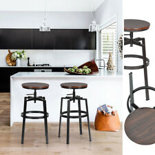 Set Of 2 Kitchen Barstools Industrial Style High Adjustable Backless Bar Chairs