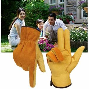 1 Pair Heavy Duty Cowhide Leather Gloves Thorn Proof Puncture Resistant Bramble