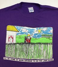 Vintage Mens M 80s Funny Lawn Work Mowing Grass Golf Graphic Purple T-Shirt