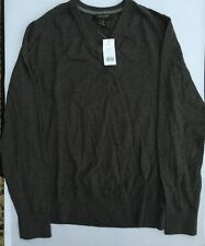 Banana Republic Men's V-neck sweater charcoal grey classic Cotton/Cashmere M New