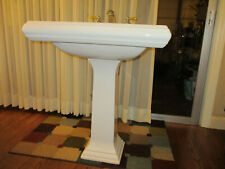 Kohler Pedestal Sink Basin W/ Silver & Gold Faucet Handles Large White Bathroom