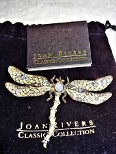 L@@K Joan Rivers XV Classic Collection AB Crystals & Enamel Dragonfly Pin w/Bag