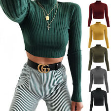 Turtleneck Solid Color Knitted Crop Top Shirt Slim Long Sleeve Casual Outfits