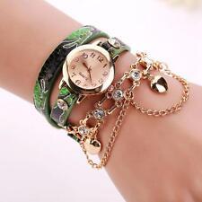 Moda Reloj de pulsera Mujer Cuero Diamante imitacion Remache Cadena Cuarzo