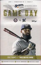 ERIC THAMES ON COVER MILWAUKEE BREWERS 2017 OFFICIAL GAMEDAY PROGRAM ISSUE #17