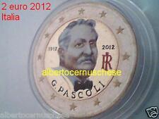 2 euro 2012 Italia fdc smaltato colorato italie italien italy 100 anni Pascoli