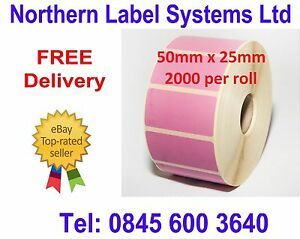 50mm x 25mm PINK Direct Thermal Labels for Zebra, Citizen, Toshiba etc