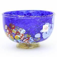 GlassOfVenice Murano Glass Millefiori Bowl - Blue