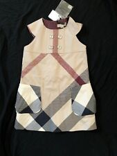 Bnwt Authentic Burberry Sleeveless Checkered Plaid Dress Poof Pockets 4y $295