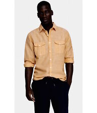 MENS EXPRESS LINEN-COTTON TWO POCKET SHIRT sz M- Peach-Orange, Contrast Cuff