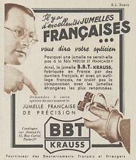 Z9902 Jumelles Française BBT KRAUSS -  Pubblicità d'epoca - 1937 Old advertising