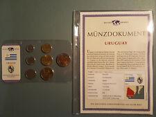 "176: KMS URUGUAY "" DAS GELD DER WELT "" mit Münzdokument - Kursmünzensatz MDM"
