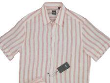 e4996b0be NEW $165 Hugo Boss Black Label Short Sleeved Shirt! M Slim Fit Linen Striped