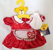 NWT Build A Bear Mrs Claus Christmas peppermint heart dress w/ apron hat clothes